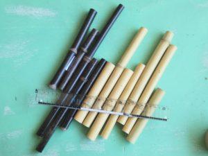 柄として切り終えた竹