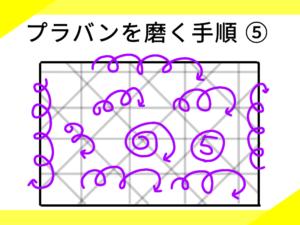 プラバンを磨く手順のイラスト(3)